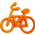 Plastic bike pin orange front